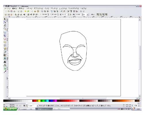顔のパーツをそれぞれ描く